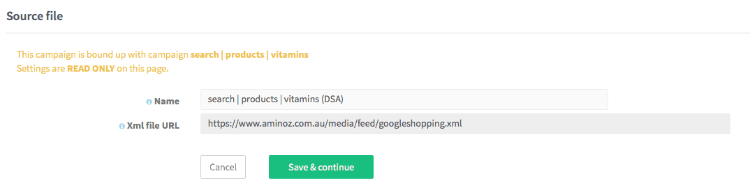 Setting the DSA campaign name and source file url for XML product data feed