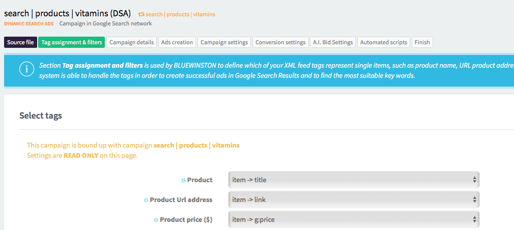 Settings for filtering your products inside of a campaign which will be included