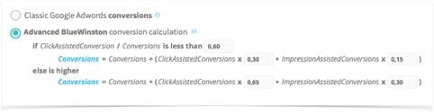 AdWords conversions calculation formula