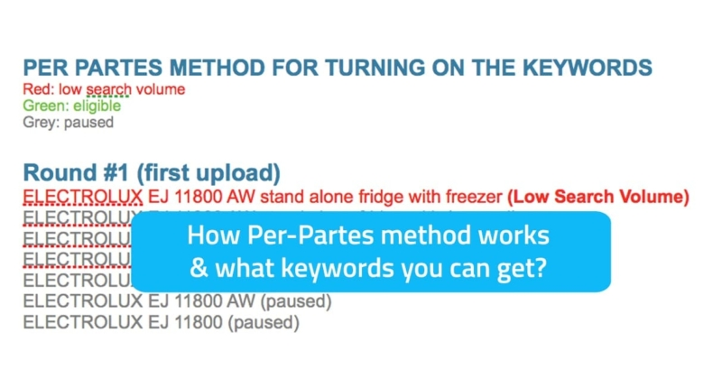 How per-partes for gradually enabling keywords works in Google AdWords