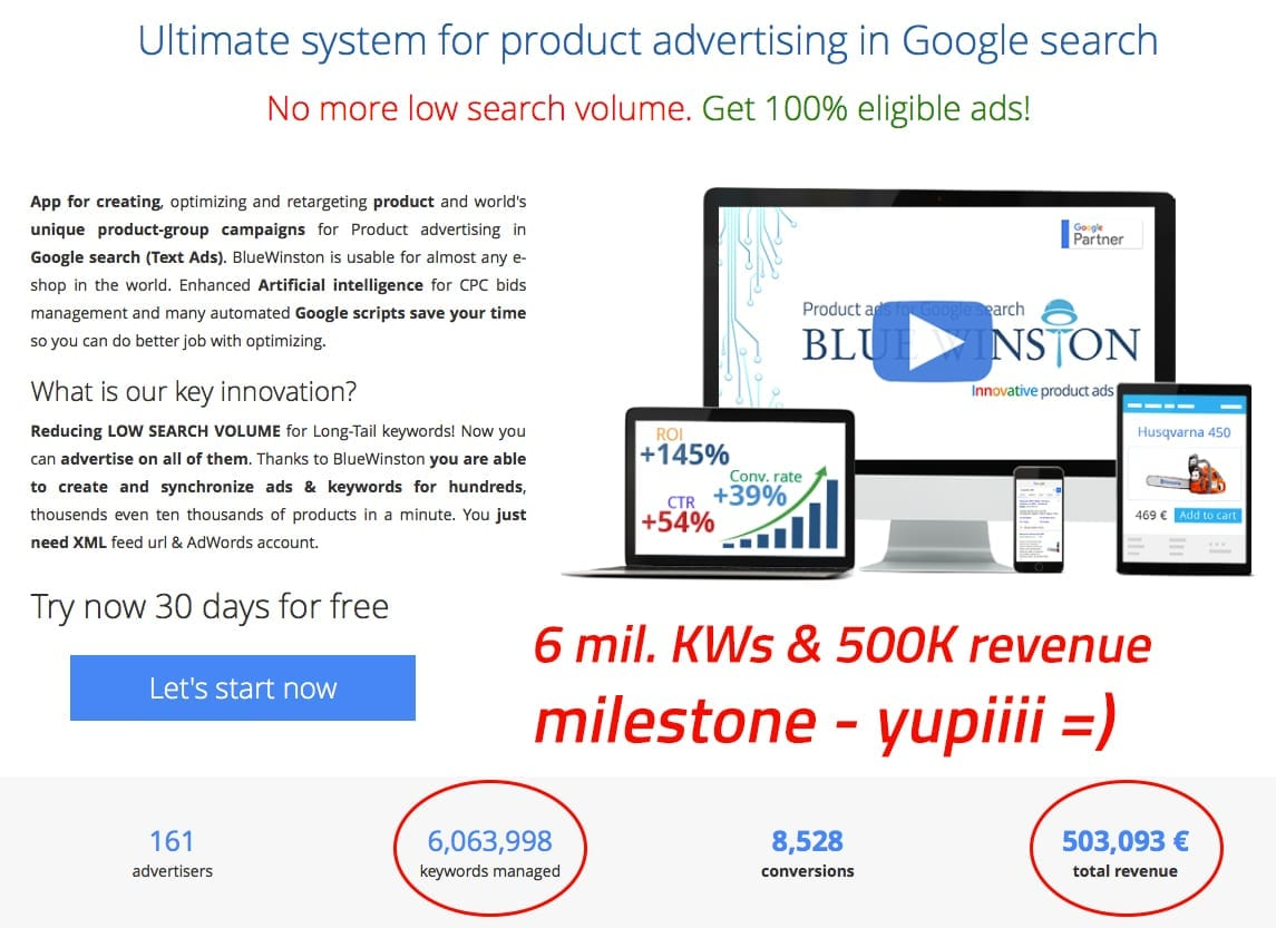 Next bluewinston milestone is here - more than 500K euros of total revenue for our e-commerce clients who want to advertise their products in Google search