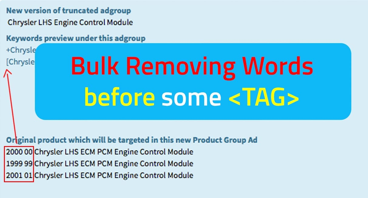 How to bulk remove, delete words before some tag