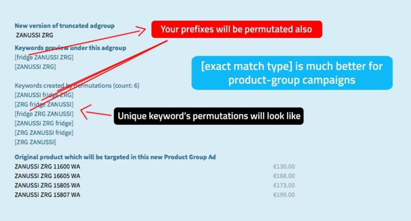 Permutations for keywords with exact match type
