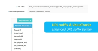 Enhanced URL suffix builder for product campaigns with UTM & AdWords ValueTrack parameters for Google Search Text Ads