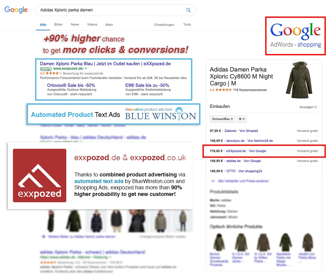 Shopping ads together with Product text ads in Google Search