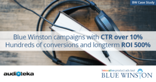 Case study Audioteka: Blue Winston campaigns with CTR over 10%, hundreds of conversions and longterm ROI 500%