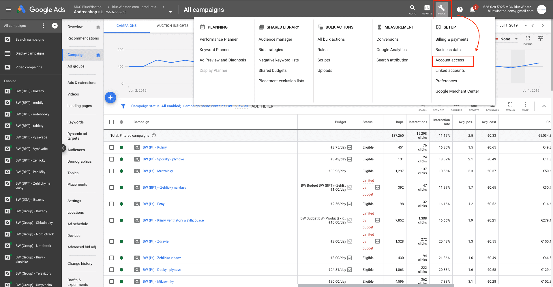 Google ads access management