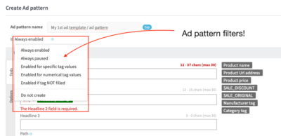Ad pattern filters for Product Text ads in Google Search