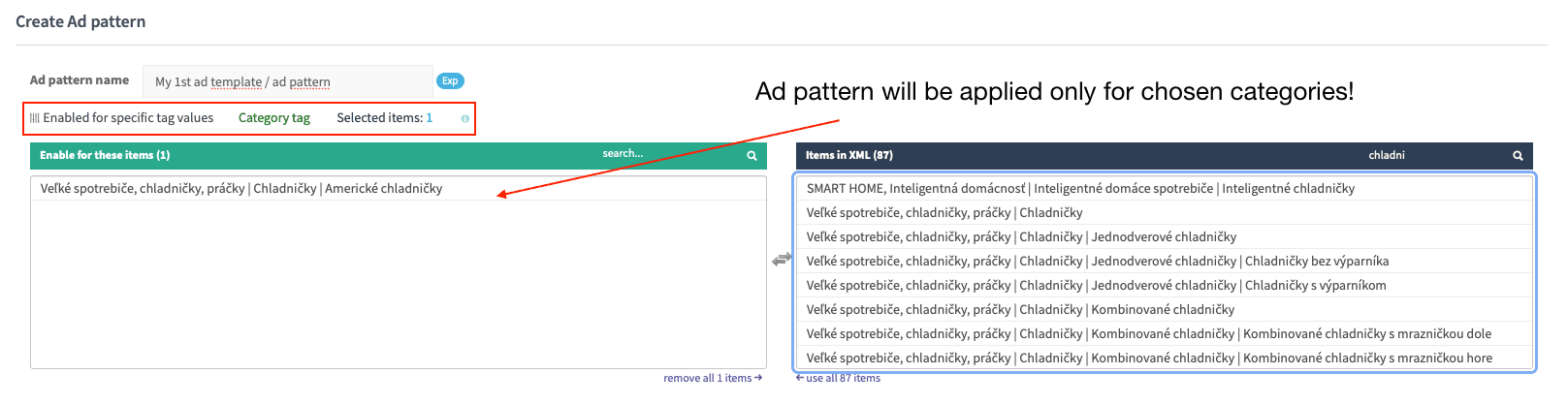 Filter ad patterns by category(ies)