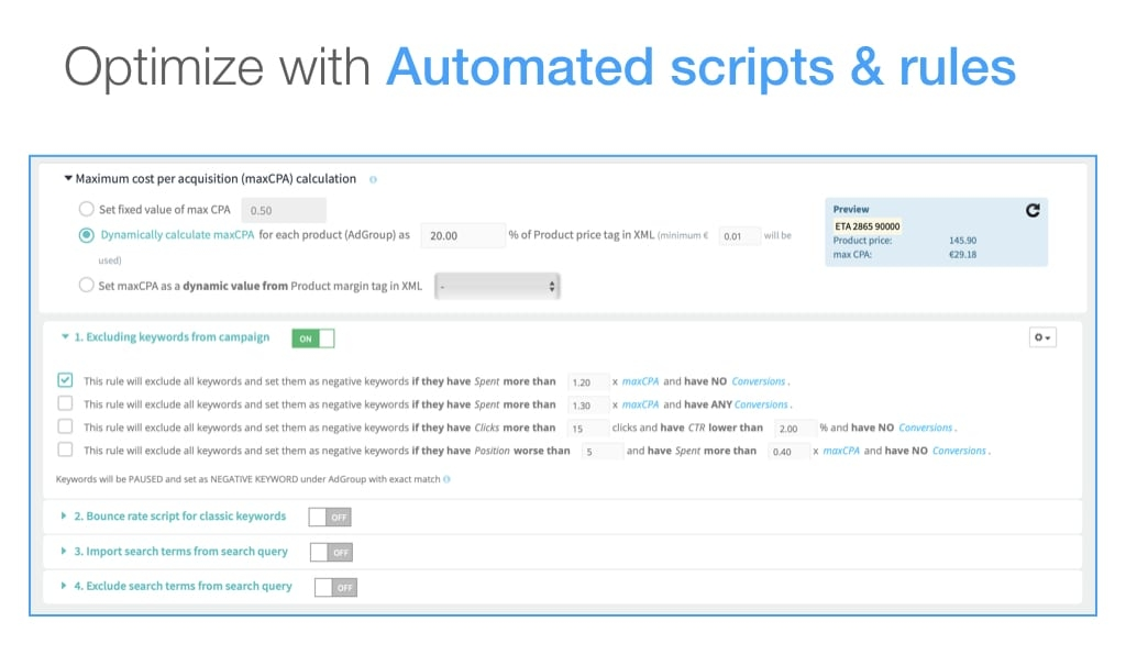 Google scripts and automated rules for Google Ads campaigns keywords optimization