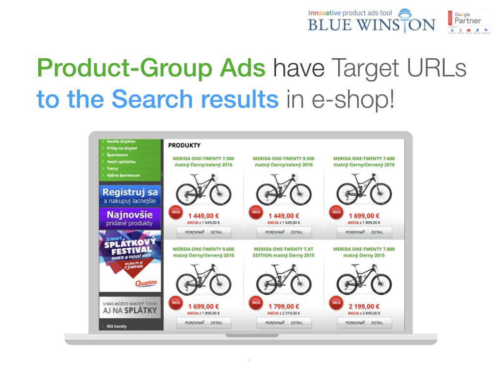 Auto-generated destination URLs for group of products on Google Search