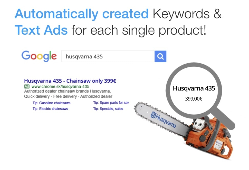 Automatic product long-tail keywords and product text ads creation for Google Search