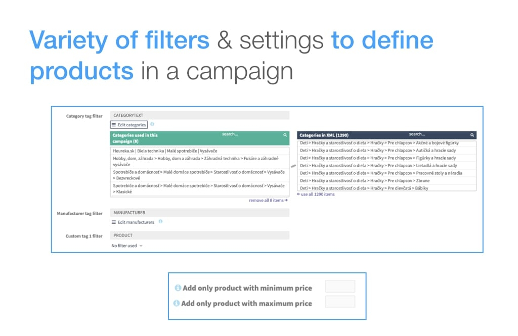 Product filter to define products within product text ads campaign on Google Search