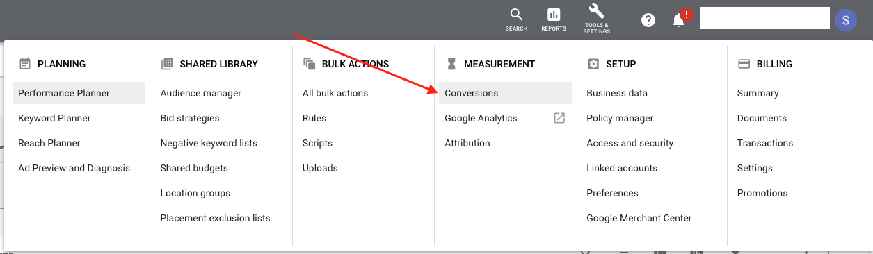 Where to set up conversions tracking in Google Ads