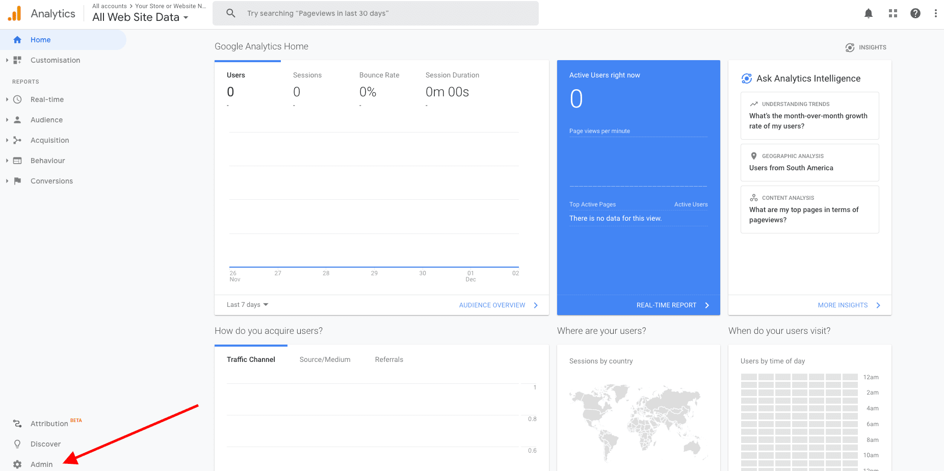 Google Analytics Main Menu