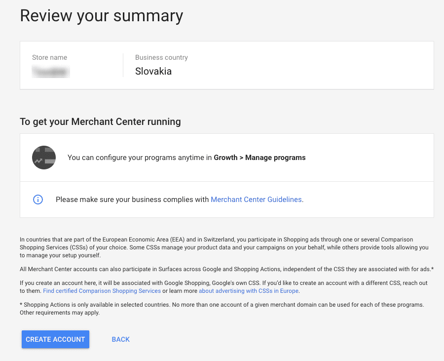 Google Merchant Review Your Summary