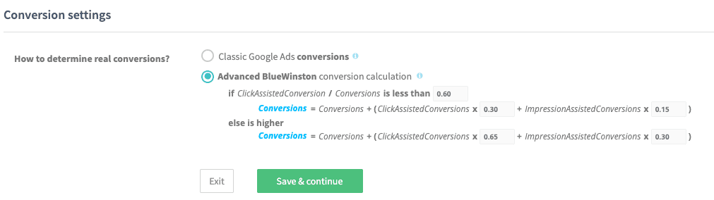 BlueWinston Product Text Ads Conversion Settings