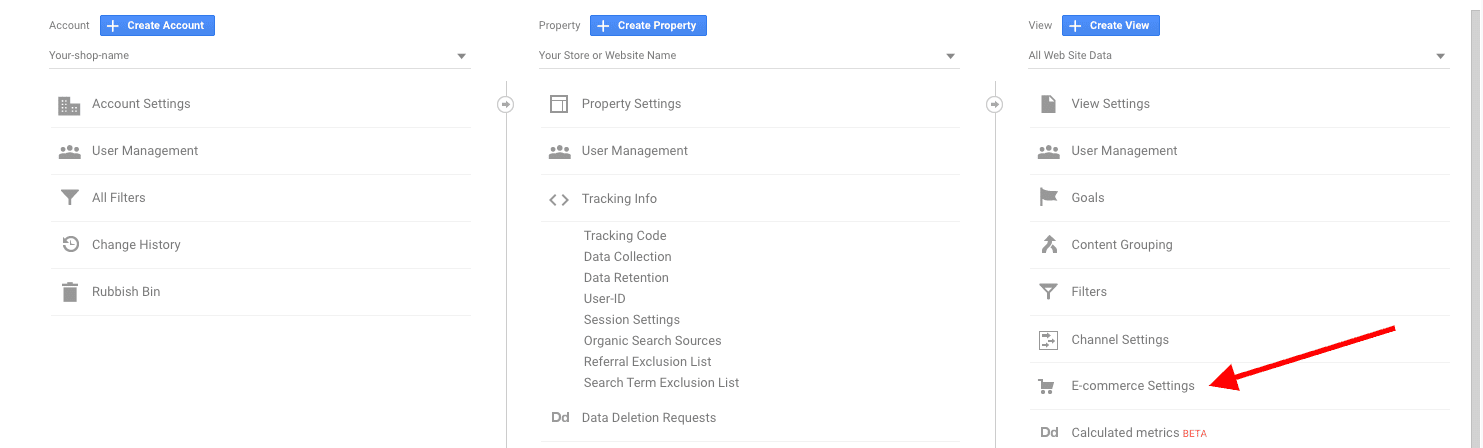 Google Analytics Ecommerce Settings