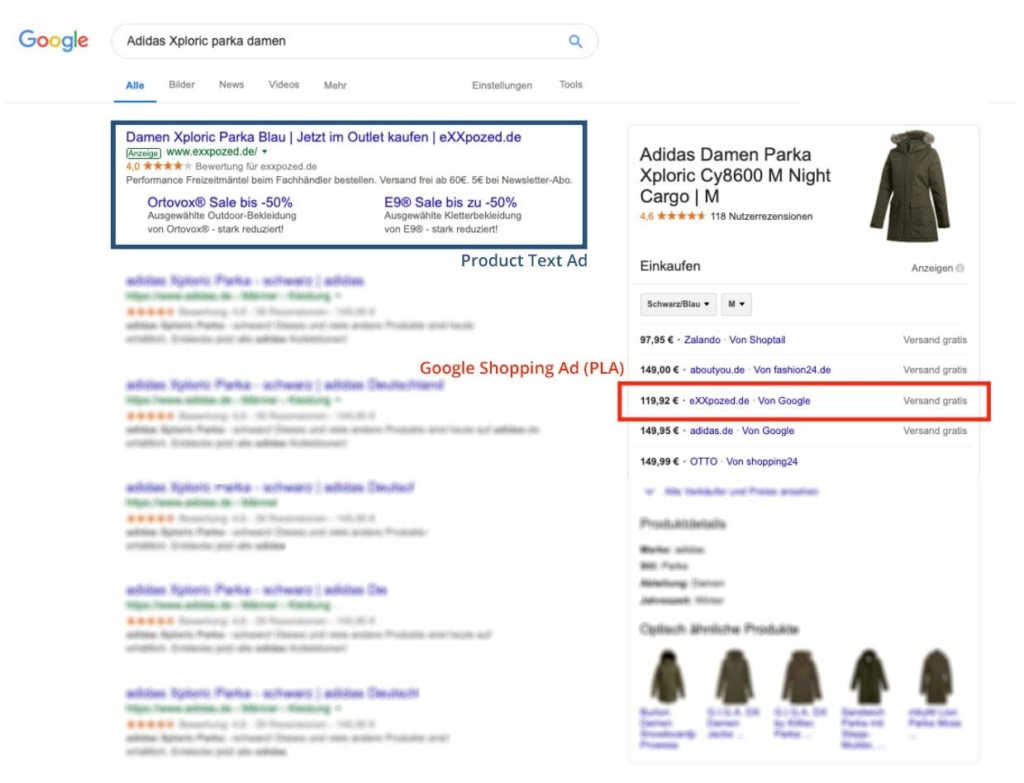 shopping ads text example