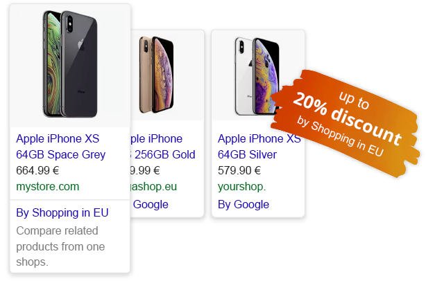 Iphone on Google Ads, discount up to 20% from Shoppin in EU