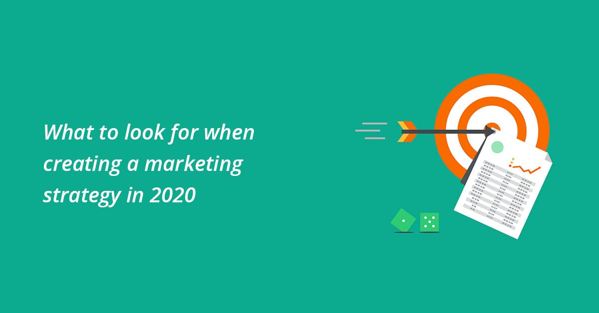 Marketing strategies 2020, target with arrow and dices