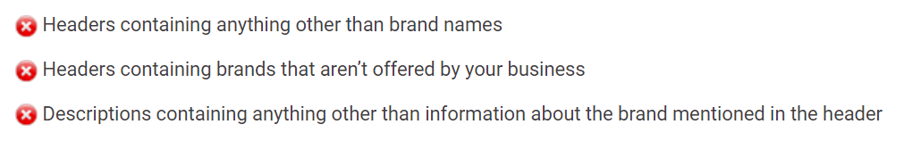 Brand requirements