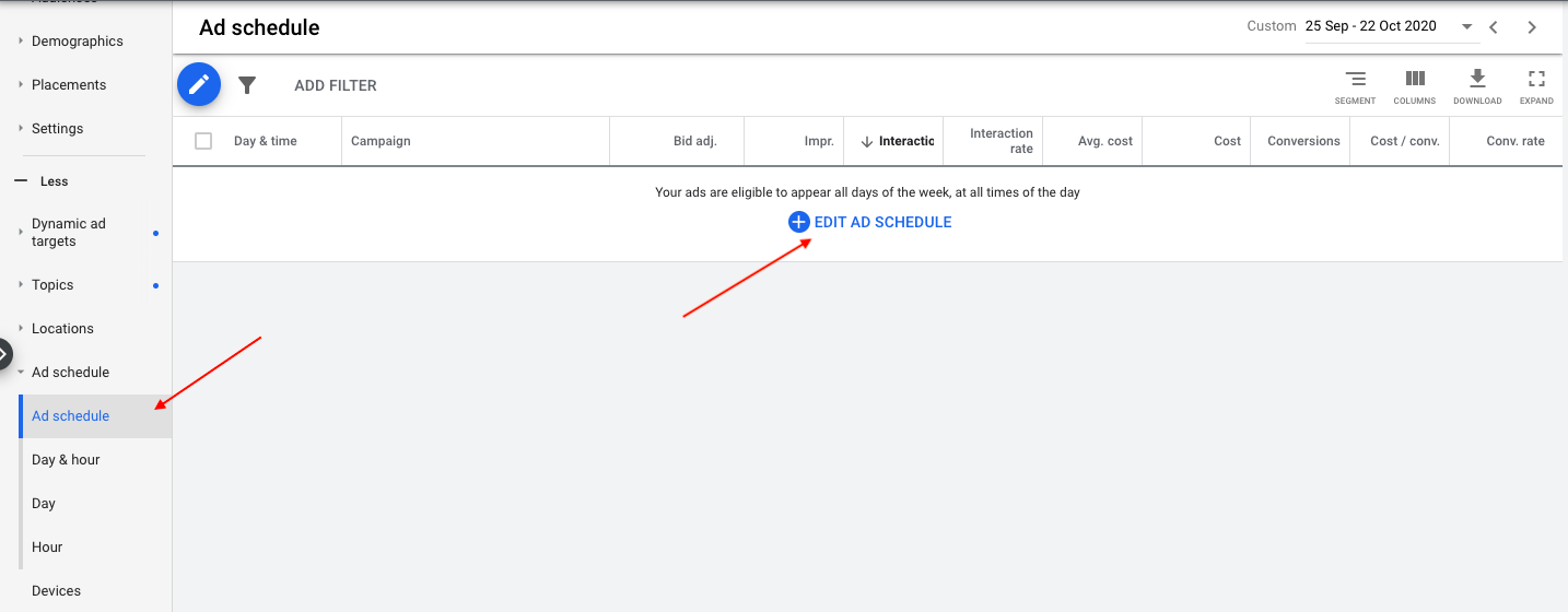 Creating an ad schedule in Google Ads