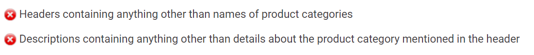 Product category requirements