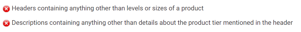 Product tier requirements