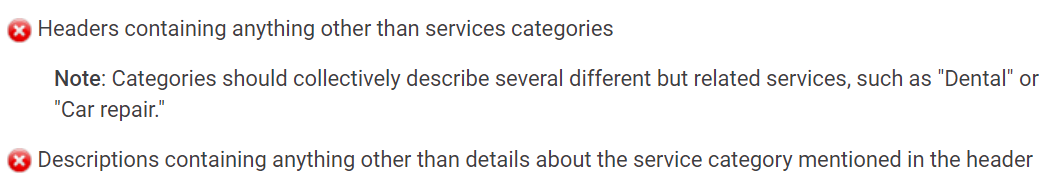 Service category requirements