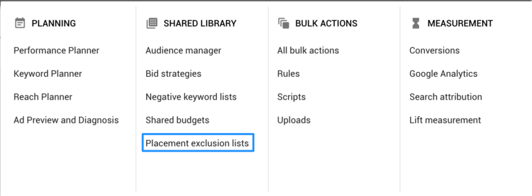 placement exclusions lists